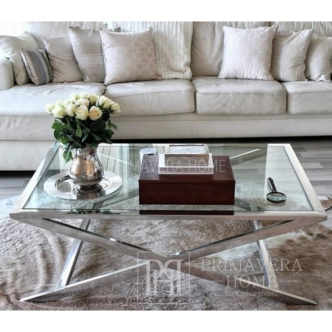 Ława Stolik Kawowy stal nierdzewna ze szklanym blatem srebrny NEW YORK