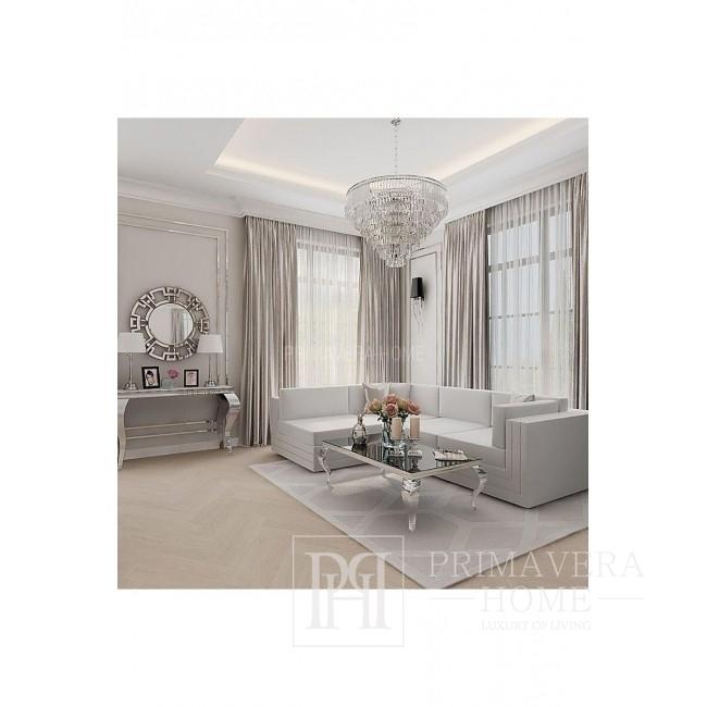 Stolik kawowy glamour nowoczesny nowojorski czarny biały blat stal nierdzewna srebrna GLAMOUR