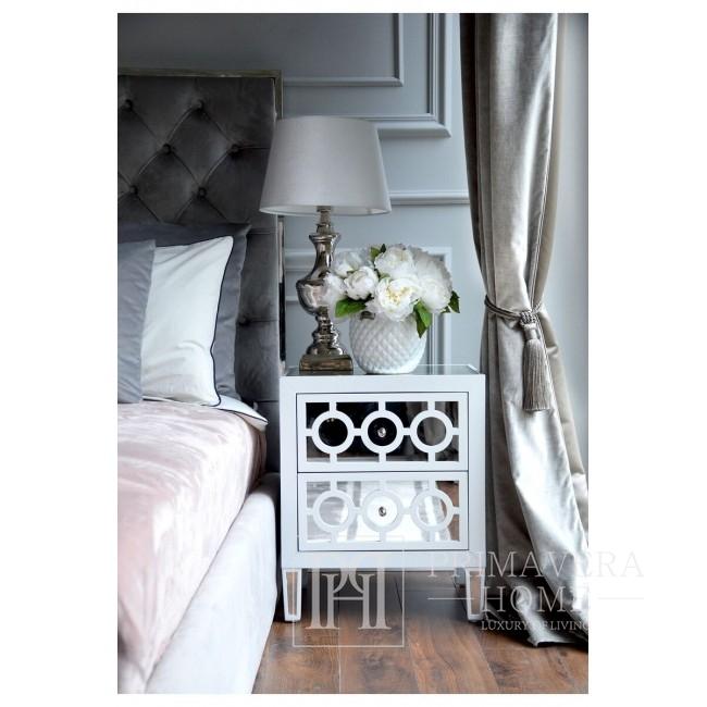 Szafka nocna lustrzana komoda nowoczesna biała styl nowojorski glamour OSKAR S
