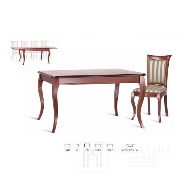 Stół drewniany klasyczny z funkcją rozkładania, lakierowany Lilly
