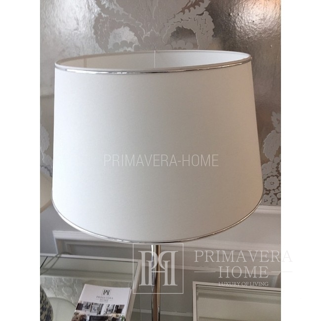 Large white lampshade with silver trimming