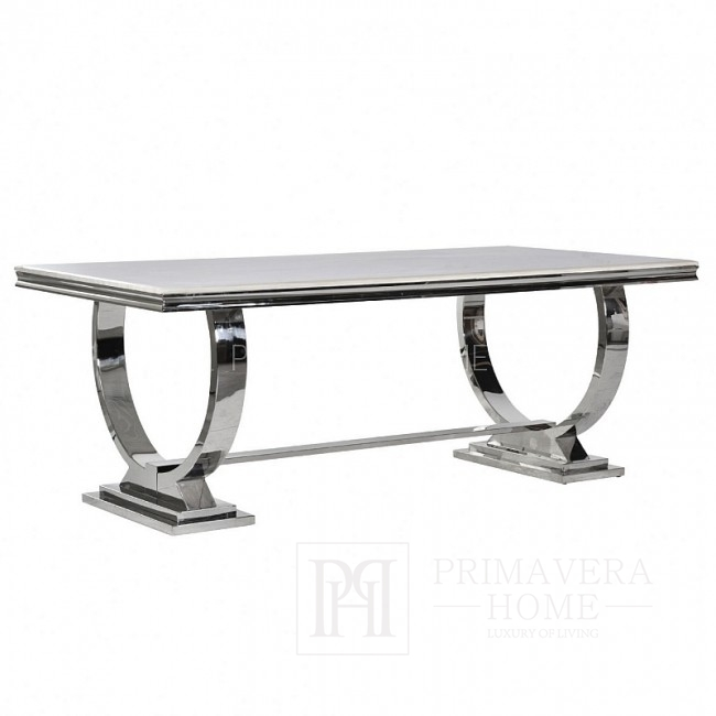 Glamour dining table base stainless steel, glass top MARCELLO
