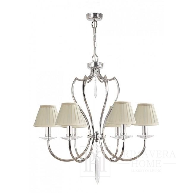 Nickel-plated glamour chandelier BOURBON
