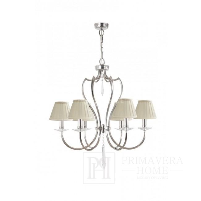 Żyrandol srebrny lampa sufitowa wisząca glamour niklowana BOURBON
