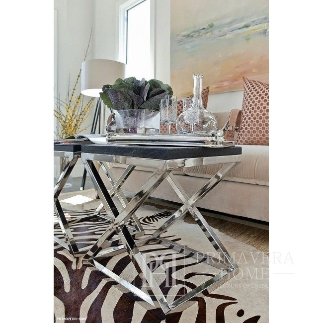 CRISS CROSS S Silver Glass Stainless Steel Coffee Tables KIT