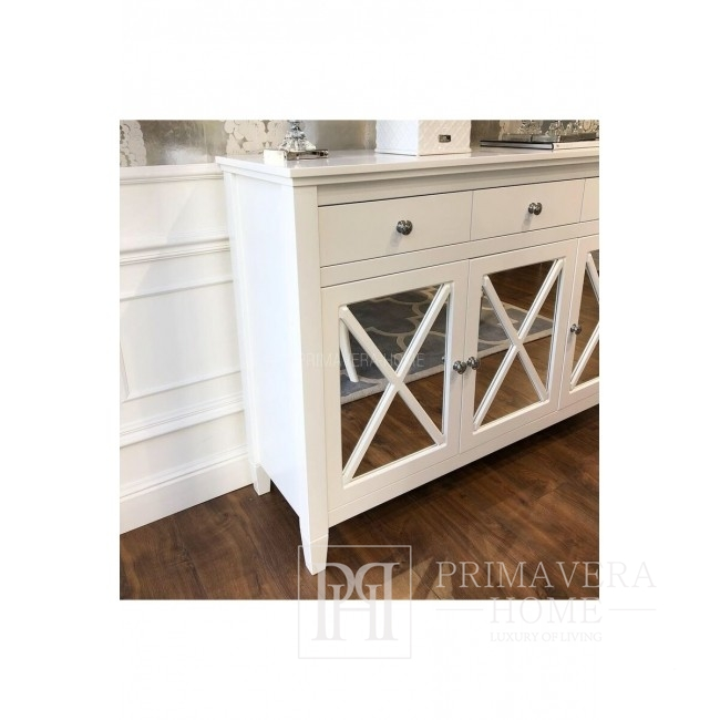 Komoda drewniana stylowa mat, styl glamour biała HAMPTONS