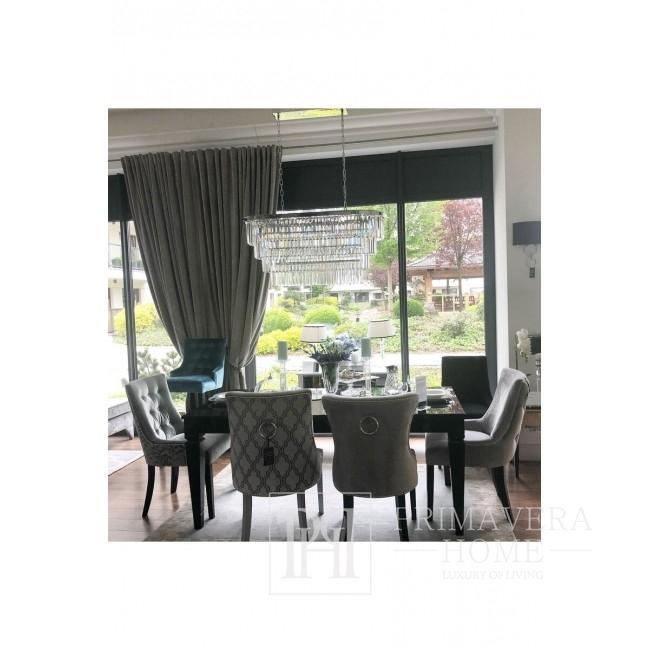 Krzesło glamour tapicerowane szare z kołatką do jadalni z koniczyną LOREN