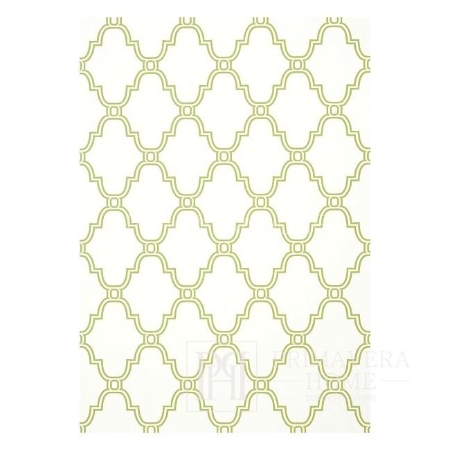 GRAPHIC RESOURCE Tapeta geometryczna w stylu nowojorskim angielskim amerykańskim koniczyna BIAŁA NIEBIESKA SZARA