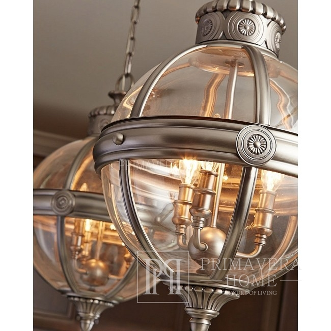 Hanging lamp, chandelier, silver, black, white BURBANK