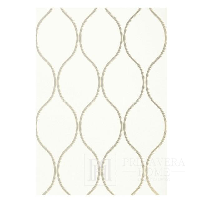 GEOMETRIC RESOURCE Tapeta geometryczna w stylu nowojorskim angielskim amerykańskim BIAŁA KREMOWA NIEBIESKA BRĄZOWA ZŁOTA SZARA