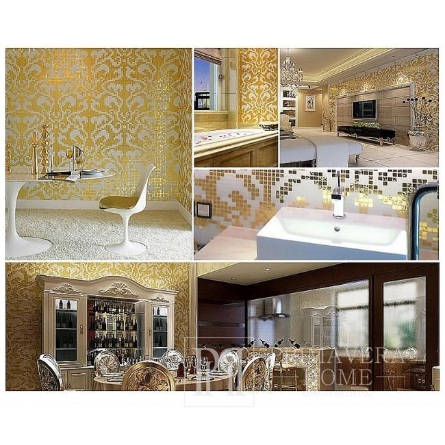 Glasmosaik Damasco Oro Giallo Gold, weiß