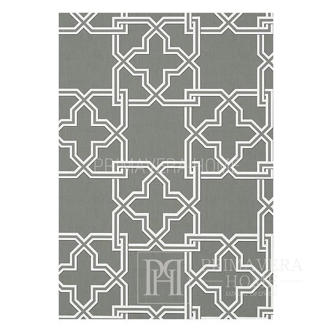 GRAPHIC RESOURCE Tapeta geometryczna w stylu nowojorskim angielskim amerykańskim BIAŁA KREMOWA NIEBIESKA ZIELONA ŻÓŁTA BRĄZOWA