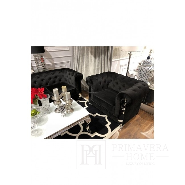 Chesterfield glamour steel velour armchair quilted grey black AVIATOR