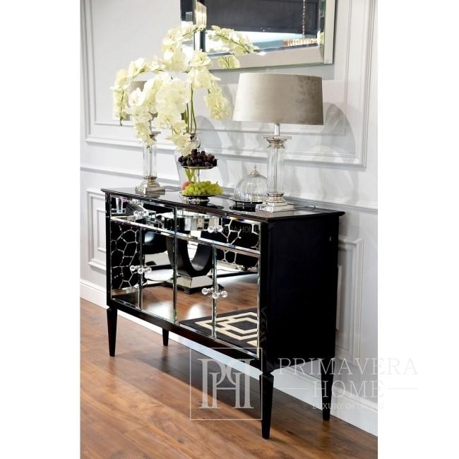 Komoda lustrzana ELEGANCE styl glamour nowojorski nowoczesny drewniana, czarna/biała