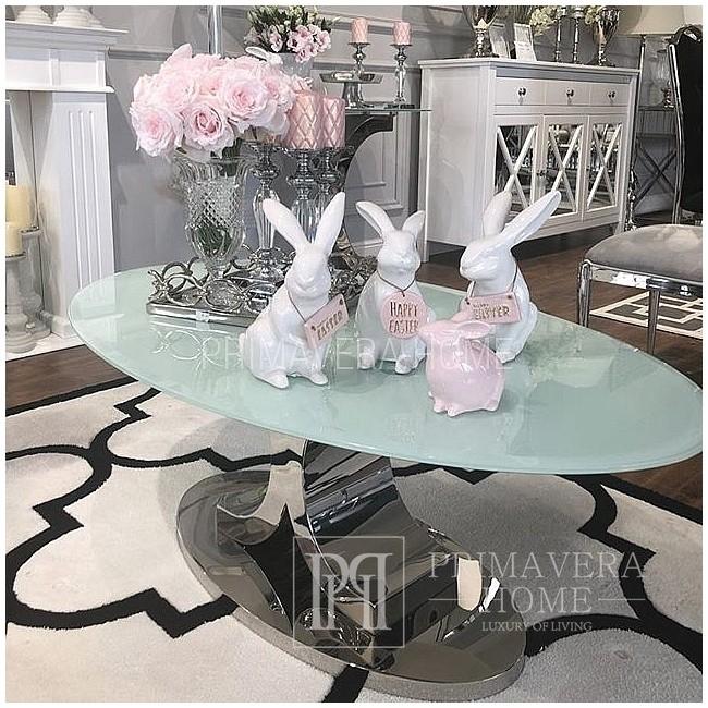 Couchtisch Glamour Silber Edelstahl Glamour Style mit weißer Glasplatte Ritz