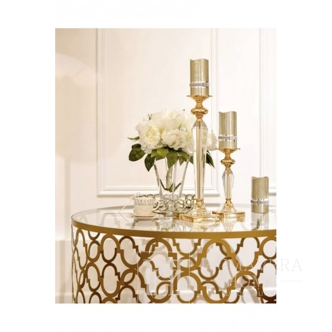 Kristall-Kerzenhalter auf Sockel L FLAVIO Gold