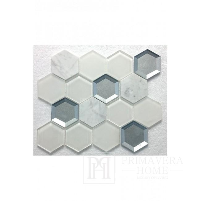 Biały marmur Honey octagon Mozaikia kamienna hexa szklana