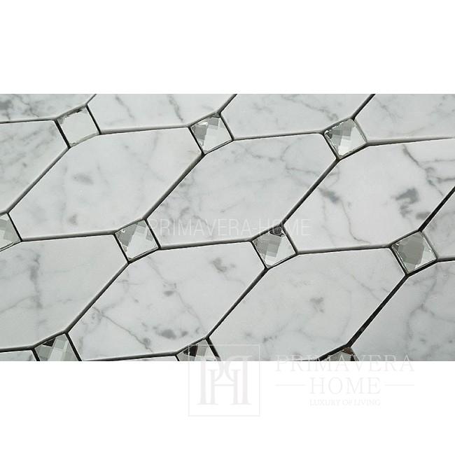 Biały marmur  Carrara octagon  Mozaika kamienna hexa Diament