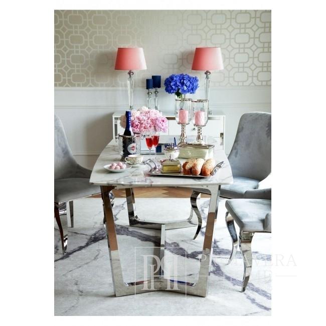 Moderner Silberner Glamour-Tisch mit weißer Marmorplatte KENT