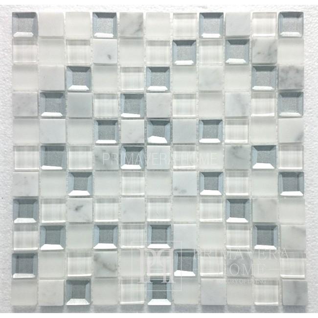 Stein und Glas Mosaik MAR 02 Weißer Diamant