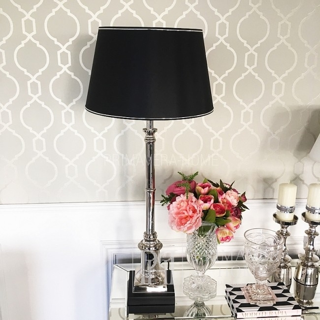 Abażur w stylu glamour czarny biały ARANELI