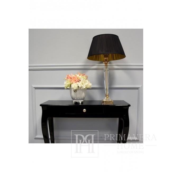 Konsola drewniana czarna w stylu glamour z wysokim polyskiem ELEGANT