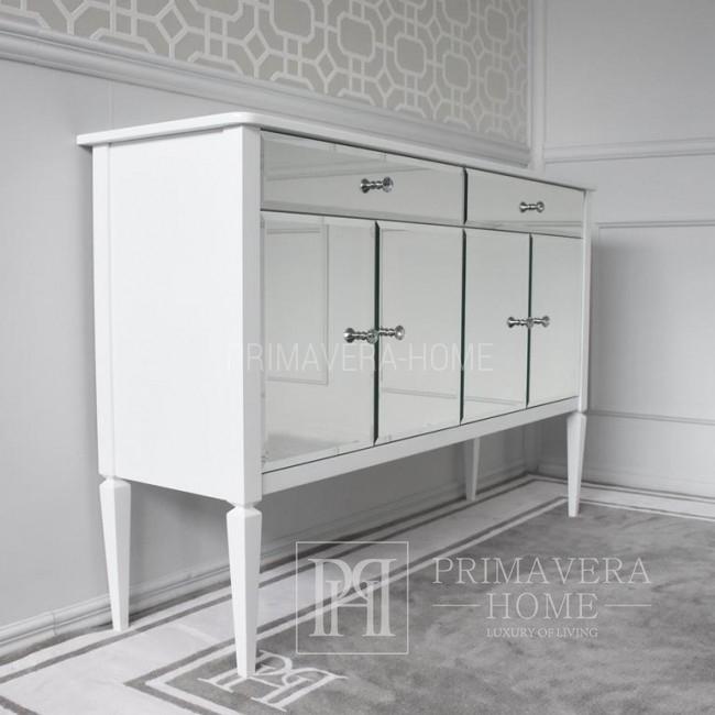 Komoda lustrzana styl glamour nowojorski nowoczesny drewniana biała ELEGANCE