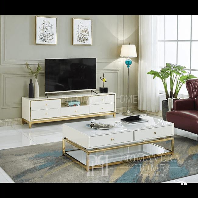 Komoda RTV glamour wysoki połysk biało złota Lorenzo L Gold