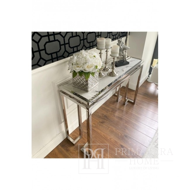 Glamour console marble stainless steel OSKAR SILVER