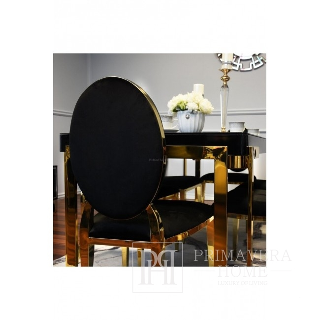 Glamour chair MEDALION for dining room steel black, gold 50x49x99