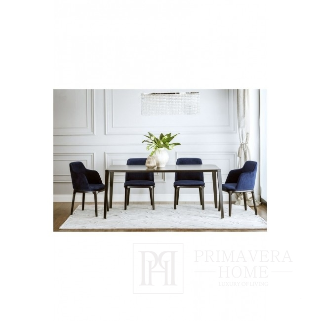 Upholstered modern wooden chair NAPOLI with armrest