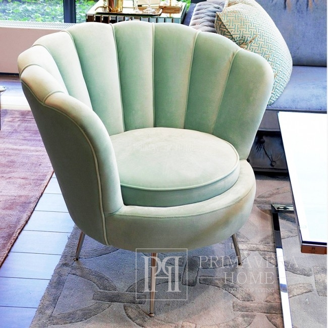 New York glamour armchair for bedroom forecourt turquoise blue SHELL
