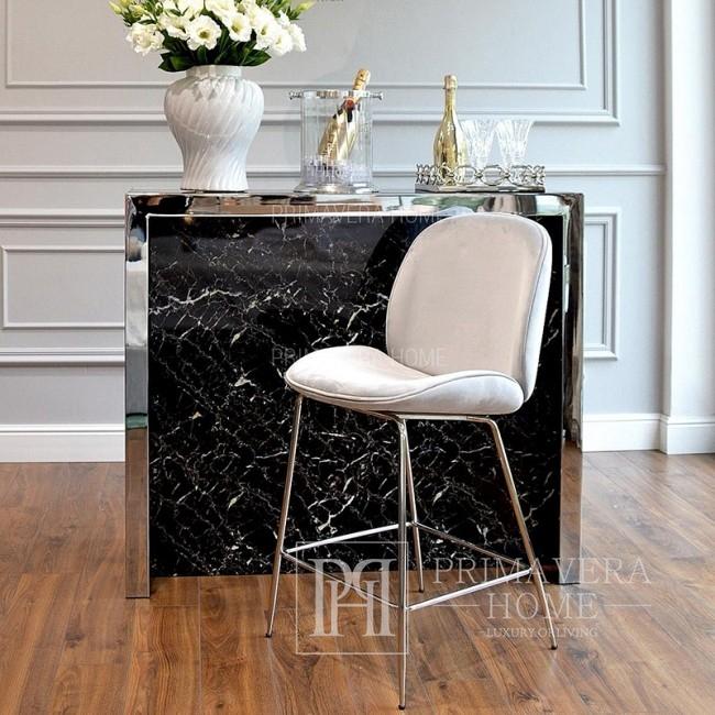 Hoker skandynawski glamour nowojorski tapicerowany szary BEETLE