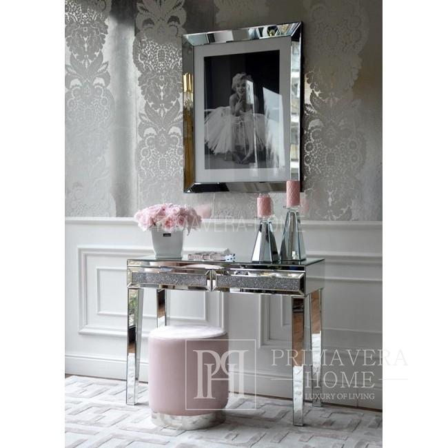 Konsola lustrzana glamour nowojorska stal nierdzewna srebrna PAOLA M OUTLET