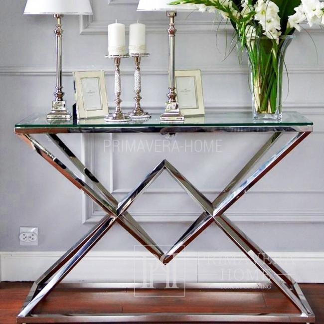 Elegante, glamouröse silberkonsole aus edelstahl und glas CONRAD