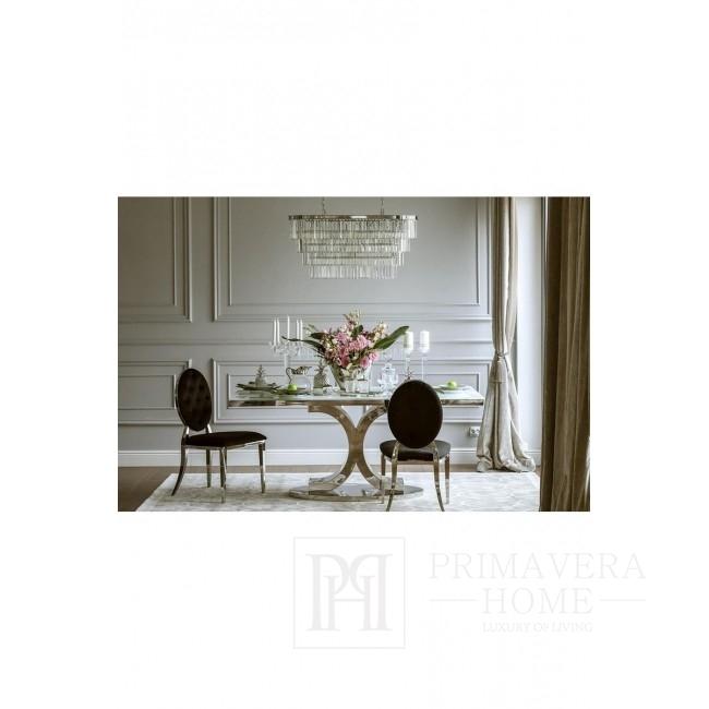 Krzesło glamour MEDALION tapicerowane pikowane stal do jadalni welur, czarny