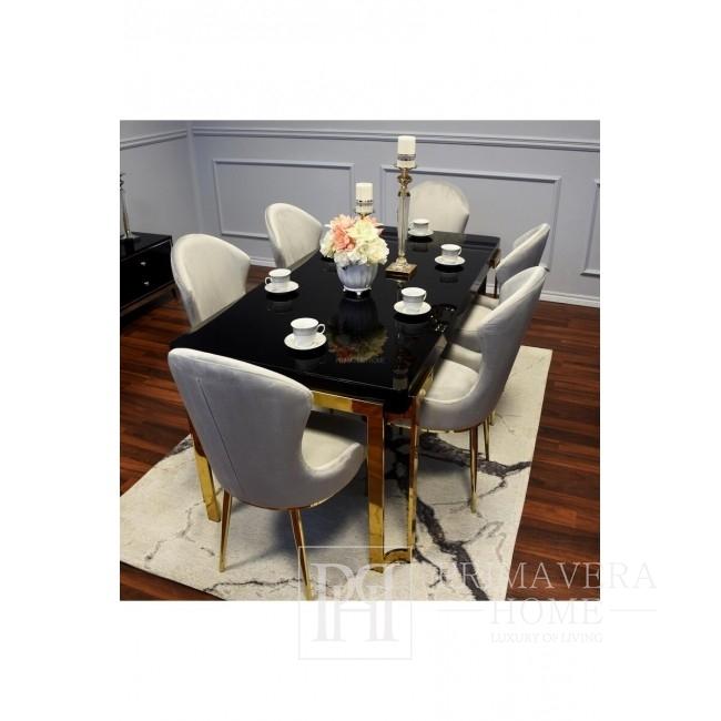 Glamour Stuhl gepolstert grau modern Stahl New York Louis Gold
