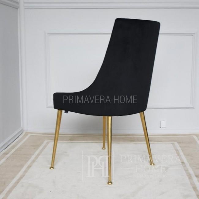 Krzesło glamour,  tapicerowane do salonu jadalni złote nogi MODERN