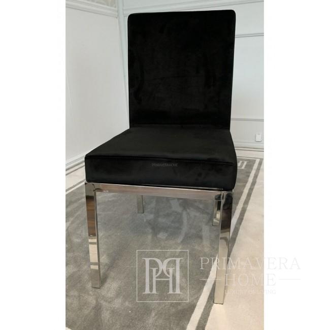 Krzesło tapicerowane glamour do jadalni srebrne czarne Cosmopolitan Silver OUTLET