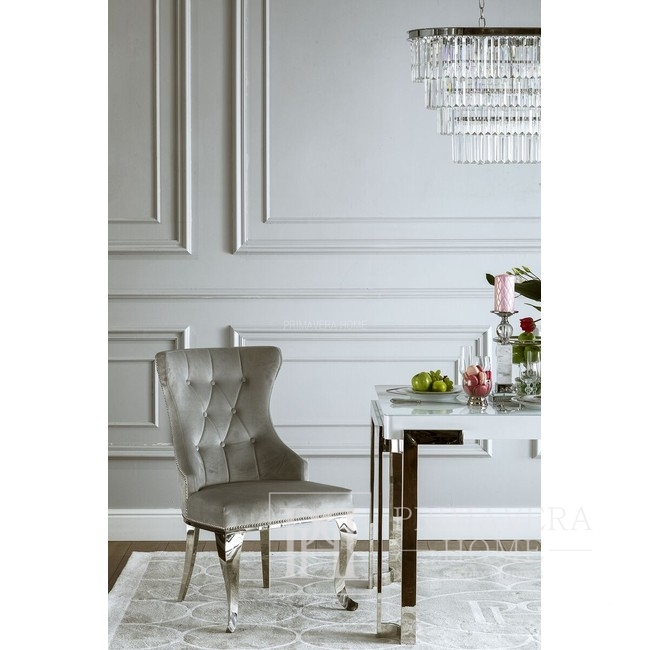 Gepolsterter Steppstuhl auf Stahlbeinen Silbergrau für Wohnzimmer GRETA