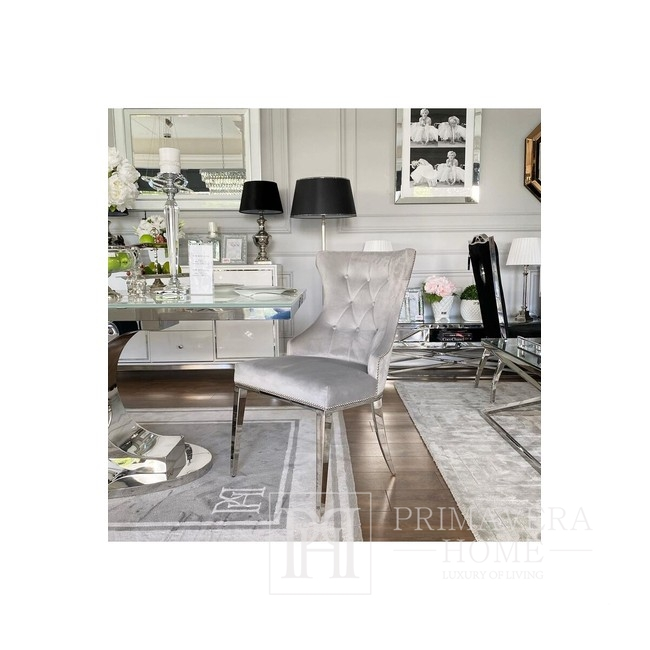 Upholstered quilted chair quilted on steel legs silver grey for GRETA living room