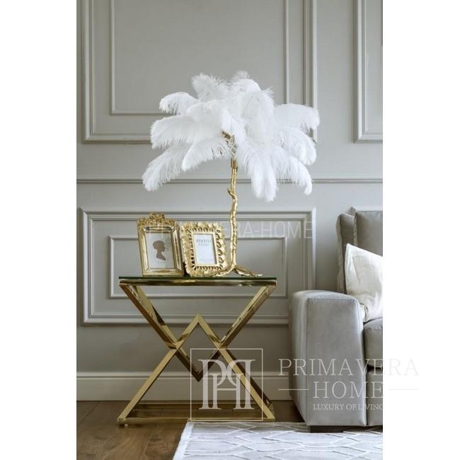 Lampa stołowa złota z naturalnych piór Paris