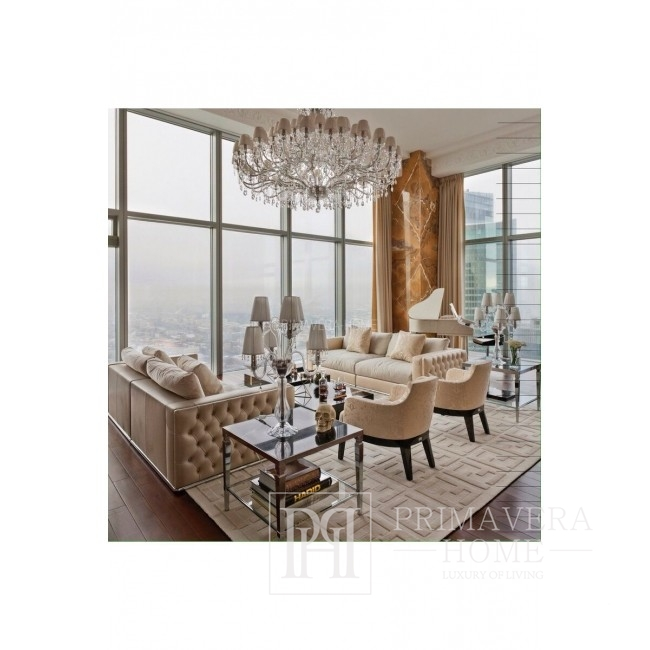 Sofa glamour rozkładana kanapa z poduszkami biała pikowana nowoczesna BIANKA