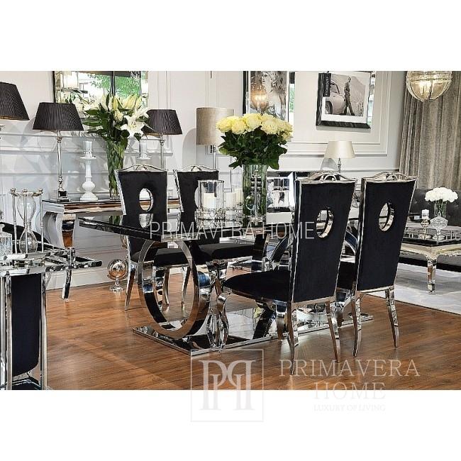 Glamour Esszimmertisch Glas Stahl modern schwarz PICASSO