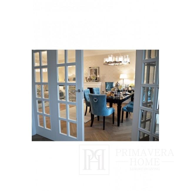 Stół glamour drewniany rozkładany do jadalni, elegancki z wysokim połyskiem ELEGANCE czarny