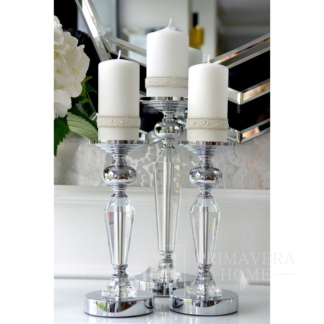 Kristall-Kerzenhalter auf Silber-Sockel FLAVIO O L