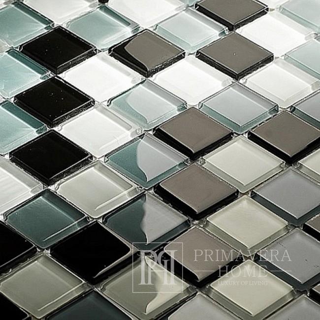 Mozaika Szklana Szara biała czarna Arabella