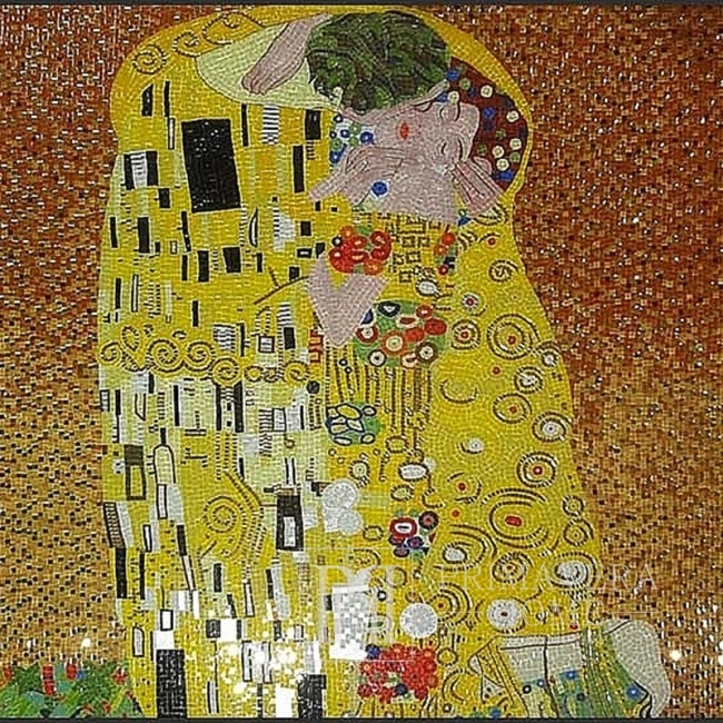 Picture from a glass mosaic Kiss (painting by Gustav Klimt)