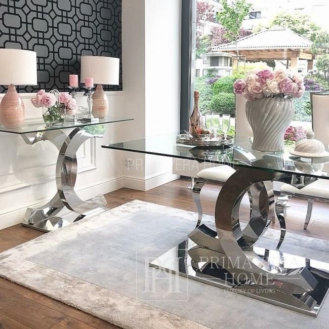 Dywan nowoczesny do salonu w stylu glamour w odcieniach szarości Isandro