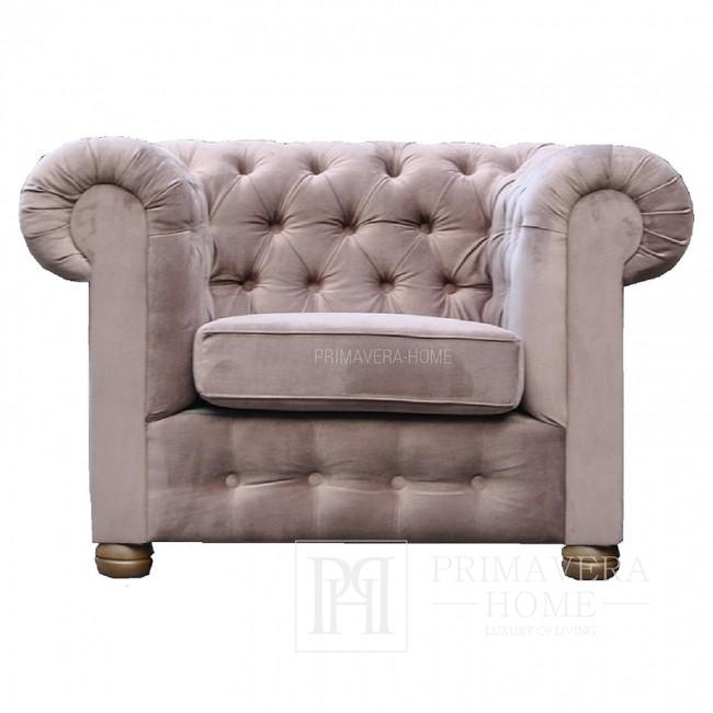 Fotel tapicerowany pikowany styl glamour Chesterfield Classic